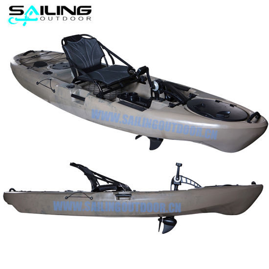 10FT Tourism Fishing Pedal Drive Kayak Single Sit on Top Canoe Boat with Pedals Wholesale