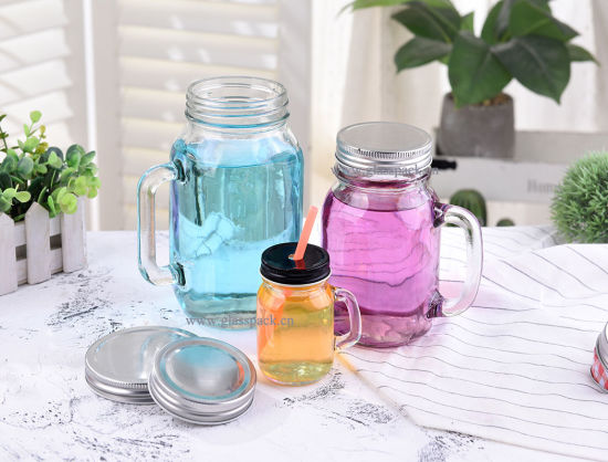 Glass Mason Jar, Drinking Glass with Handle and Printing