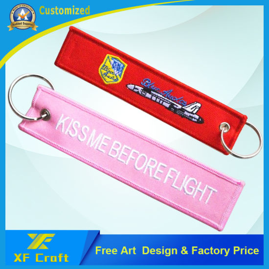 China Personalized Customized Cheap Embroidery Woven Key Ring For