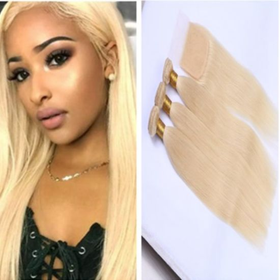 613 Blond Color Brazilian Straight Virgin Hair Wefts with Closure