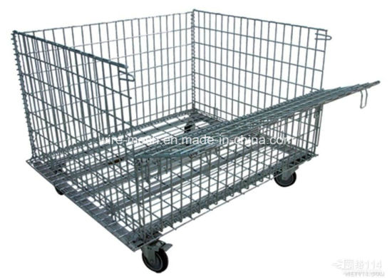Folded Wheeled Cart/ Storage Cage/Wheeled Wire Mesh Container