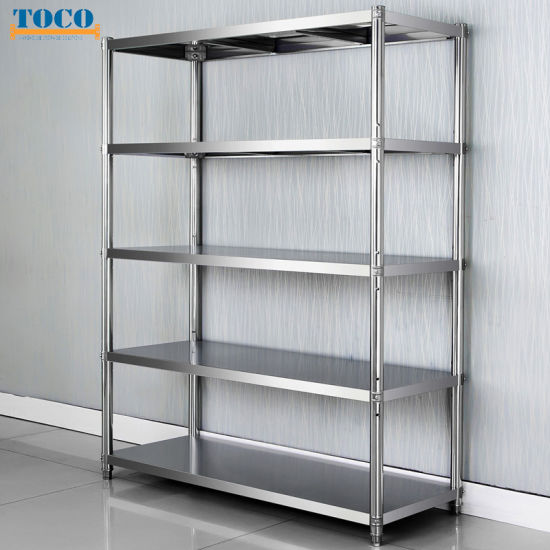 Adjustable 5 Tiers Rolling Stainless Steel Kitchen Rack Shelf pictures & photos