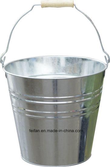 Galvanized Steel Bucket with Wooden Handle