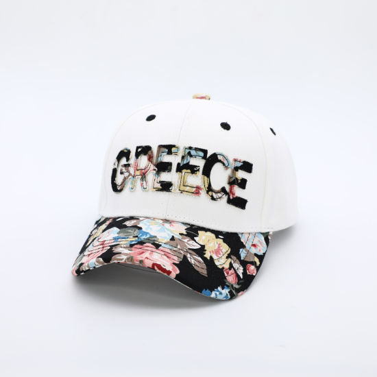 Wholesale 6 Panel Fashion Lady Greece Black Floral Baseball Cap with Patch