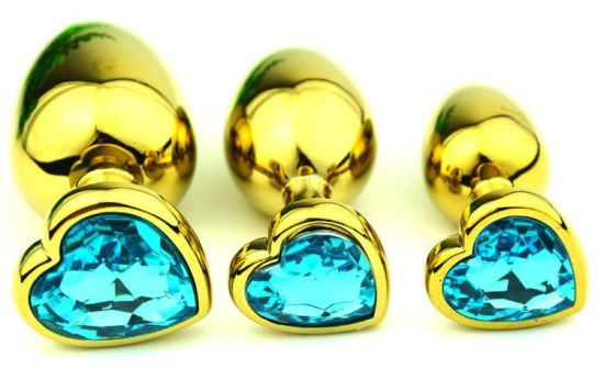 Golden Heart Shaped Stainless Steel Crystal Jewelry Anal Butt Plug pictures & photos