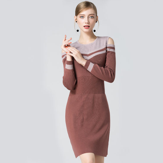 11b587041 2018 New Fashion Women′s Knitted Dress