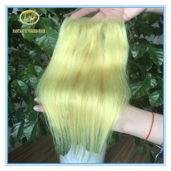 High Quality Yellow Color Straight 4*4 Lace Closure with Factory Peice Clc-010 pictures & photos