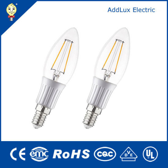 Best Manufacturer Wholesales Ce UL Saso Clear Cover 3W E26 Warm White Filament LED Candle Bulb Made in China for Office, Home, Restaurant, Showroom Lighting