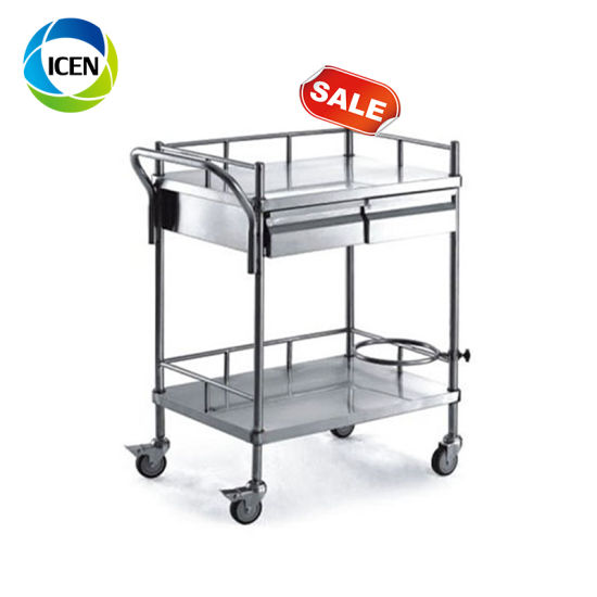in-677 China 2 layers high quality best hospital trolley cart