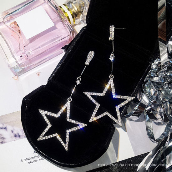 Crystal Rhinestone Hollow Five-Pointed Star Hanging Earrings Ladies Fashion Jewelry