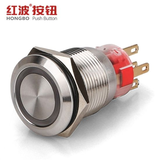 19mm Ring Illuminated Metal Waterproof on off Push Button Switch