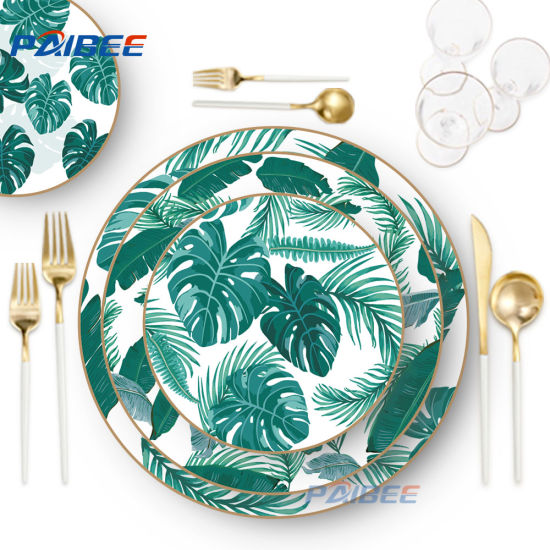 Wedding Rental Tableware Gold Rim Cookware Set Bone China Spring Leaf Dinnerware Sets pictures & photos