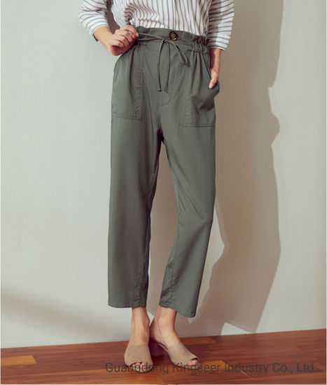 Customzied New Design Fashion Lady Casual Elastic Waist High Waist Straight Cotton Flax Women Pant Long Straight Loose Twill Pants Sweats Trousers With Pockets China Trousers And Clothes Price Made In China Com