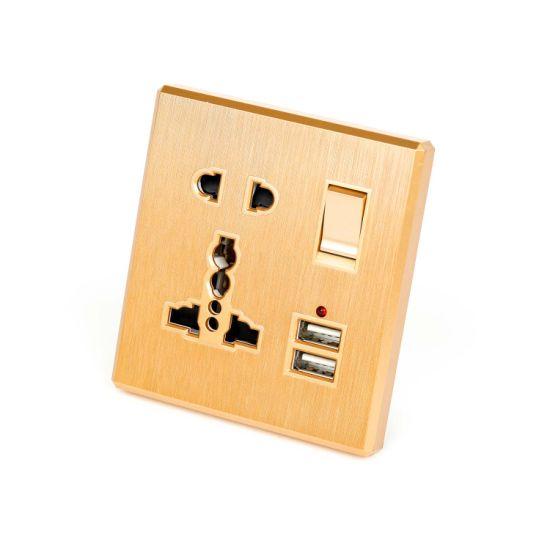 Double USB 1 Way British Smart Wall Switch Socket Control