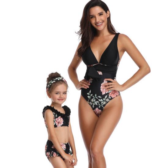 251ac8f780 Black Floral Print Deep V Neck One Piece Swimsuit Belt Bow Backless Swimwear