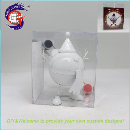 3D DIY Painting Metal Craft Snowman Figurines for Indoor Christmas Ornament Stand