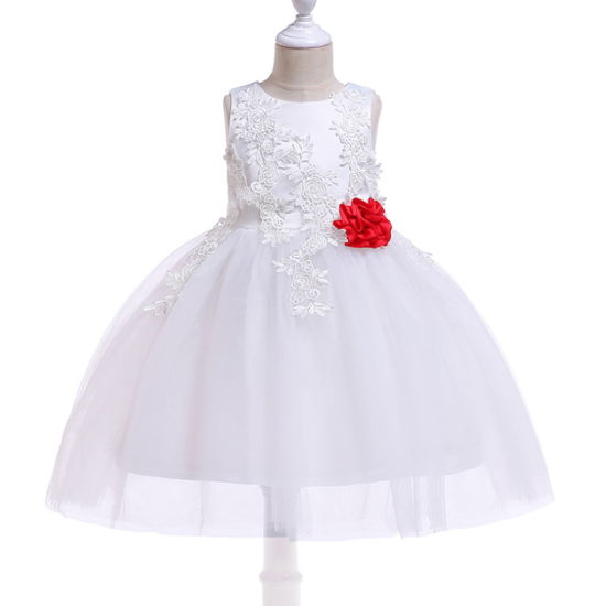 Fashion Children Baby Kids Sweet Princess Pageant Vestido De Nina White Flora Flower Girl Party Dress pictures & photos