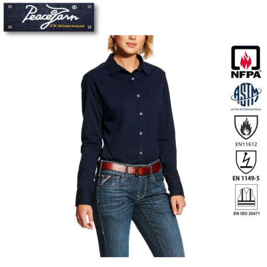 100% Cotton Flame Retardant Workwear for Fr Women's Work Shirt Clothing