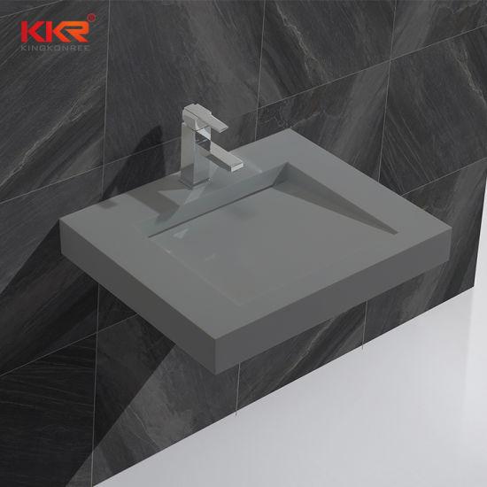 Concrete Grey Artificial Stone Corian Bathroom Sink Above Counter Wash Basin for Bathroom