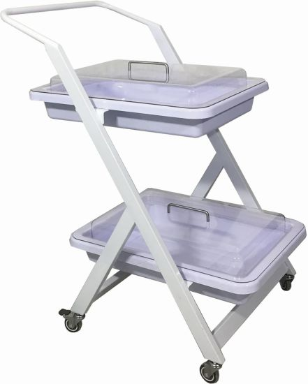 Manufacturer Hospital Medical ABS Instrument Trolley Plastic Patient Nursing Treatment Trolley/Cart with 2 Layers OEM