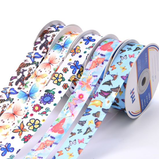 25mm Wide Custom Printed Grosgrain Ribbon for Hair Bows, Gift Packing pictures & photos