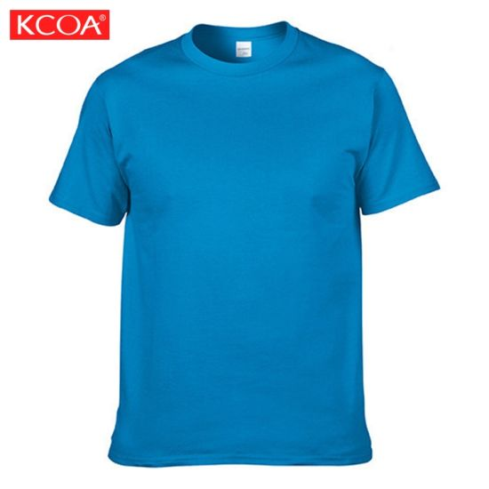 China Summer Cheap 180GSM Blue Customized Blank Cotton Men T-Shirt