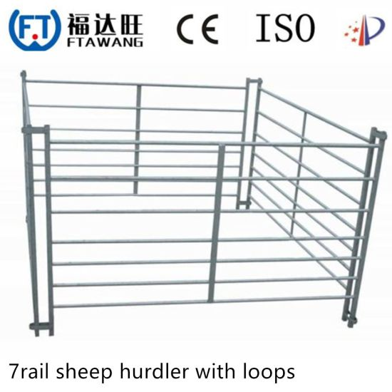 Galvanized 7 Rails Iron Farm Fencing Gate Metal Fence with Loops