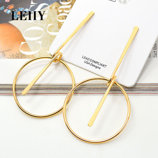 Fashion Gold-Color Circle Line Alloy Jewelry Drop Dangle Earrings pictures & photos