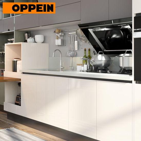 Oppein Straight Line Modern Lacquering Kitchen Sink Cabinets