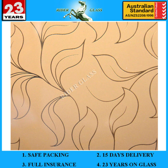 3-6mm Golden Art Mirror Glass Decorative Acid Etched Frosted Art Glass Architectural Suppliers pictures & photos