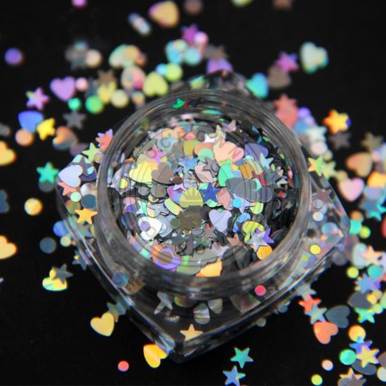 China Galaxy Holo Glass Irregular Nail Art Glitter Chameleon Flakes