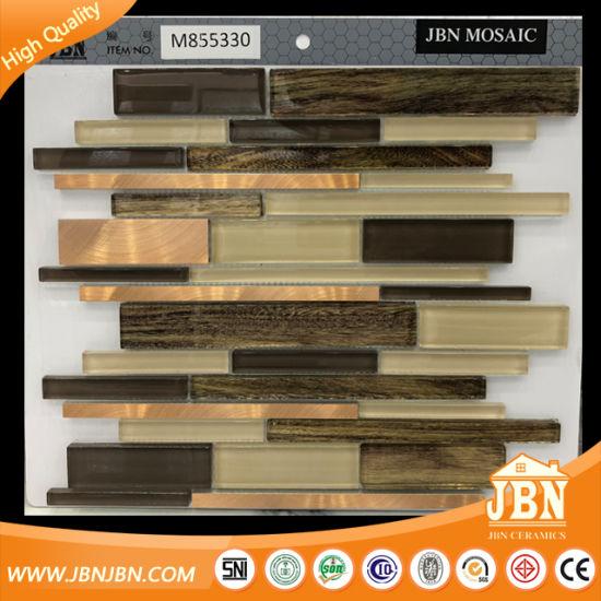 Supermarket Wholesale Brown Color Strp Glass and Aluminum Mosaic (M855330)