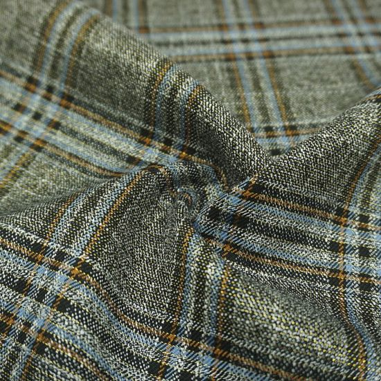 Fabric, T/R, Check, 71%Polyester 27%Rayon 2%Spandex Gold Line Tr Quality Fabric for Garment 20027