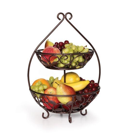 Free Style Metal 2 Tiers Fruit Storage Basket