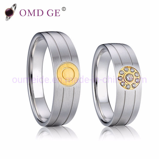 2-Tone Gold Plating Stainless Steel Wedding Ring Sets pictures & photos