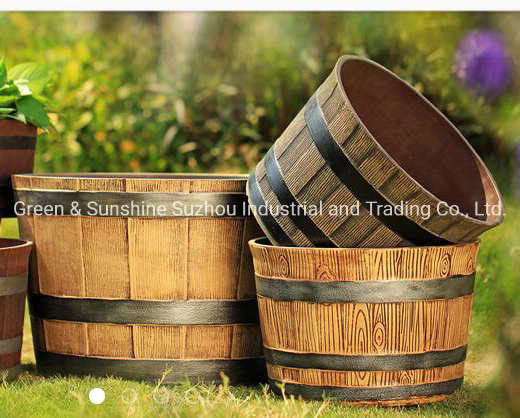 """OEM Factory Directly Sale High Quality Cheap Price Large Waterproof PP 12"""" Whiskey Barrel Round Plastic Flower Pot Plant Pot Garden Planter"""