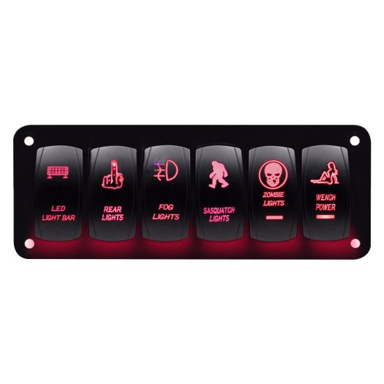 Car Marine Boat 6-Gang Waterproof Circuit LED Rocker Switch Panel pictures & photos