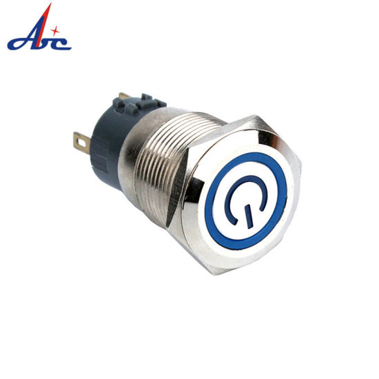 19mm Momentary LED Push Button Switch with Power Logo Lighted