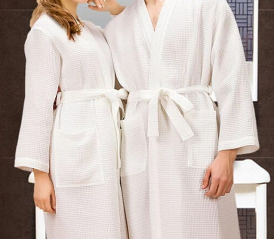 Cotton Solid Color Bathrobe Hotel Bathrobes for Adults pictures & photos