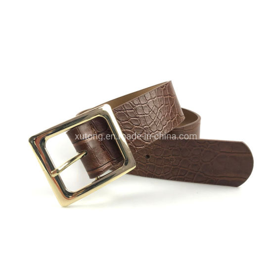 Fashion Crocodile Leather Belt Buckles Lady′s Belts pictures & photos