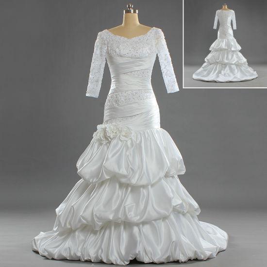 W282 Slim Muslim Sheath Mermaid 3/4 Sleeves Wedding Dresses for Bride