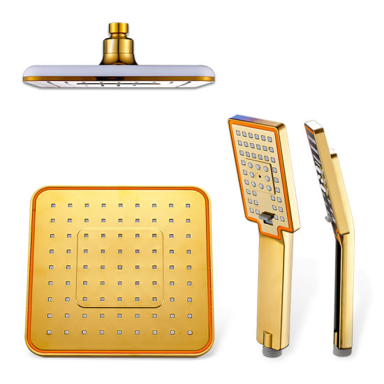 Bathroom Wall Mounted Dual Functions Top Sprayer Shower Brushed Gold Mixer Shower Faucet Set