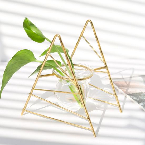 Modern Durable Geometry Centerpieces Metal Line Flower Vase