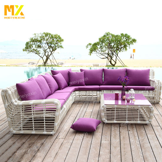Big L Shape Outdoor Garden Sofa Furniture with High Quality UV Resistant Rattan