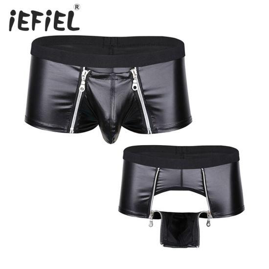 Men Faux Leather Zipper Pouch Sexy Lingerie Boxer Briefs Shorts Underwear Boxers