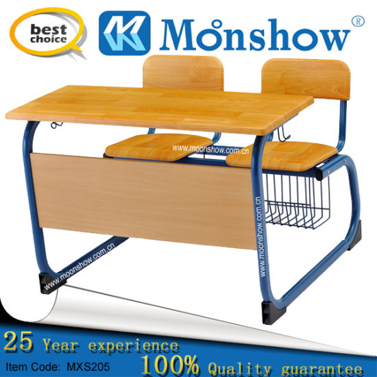 Moulded Plate Double Desk and Chair School Furniture