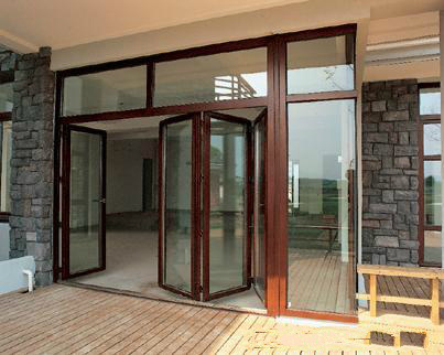 Natural Larch Wood Double Tempered Glass Solid Wood Door pictures & photos