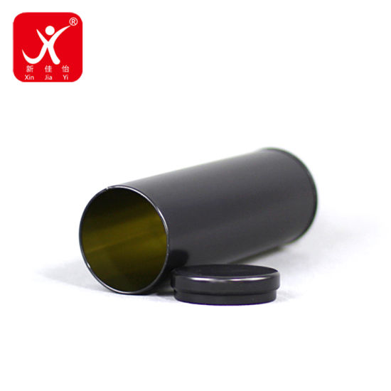 Custom Round Black Glossy Color with Curved Lid Tin Box