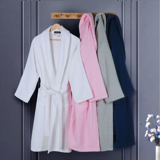 White Click Detailing E39cd 35e1b Hotel Spahospital Waffle Bathrobe Luxury Egyptian Cotton Bath Linen Robe