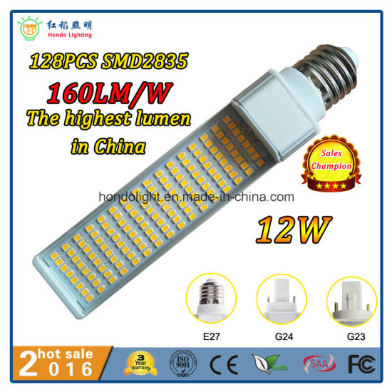 128PCS Epistar LEDs 160lm/W PLC LED Light 12W G24 with Ce&RoHS Approved pictures & photos